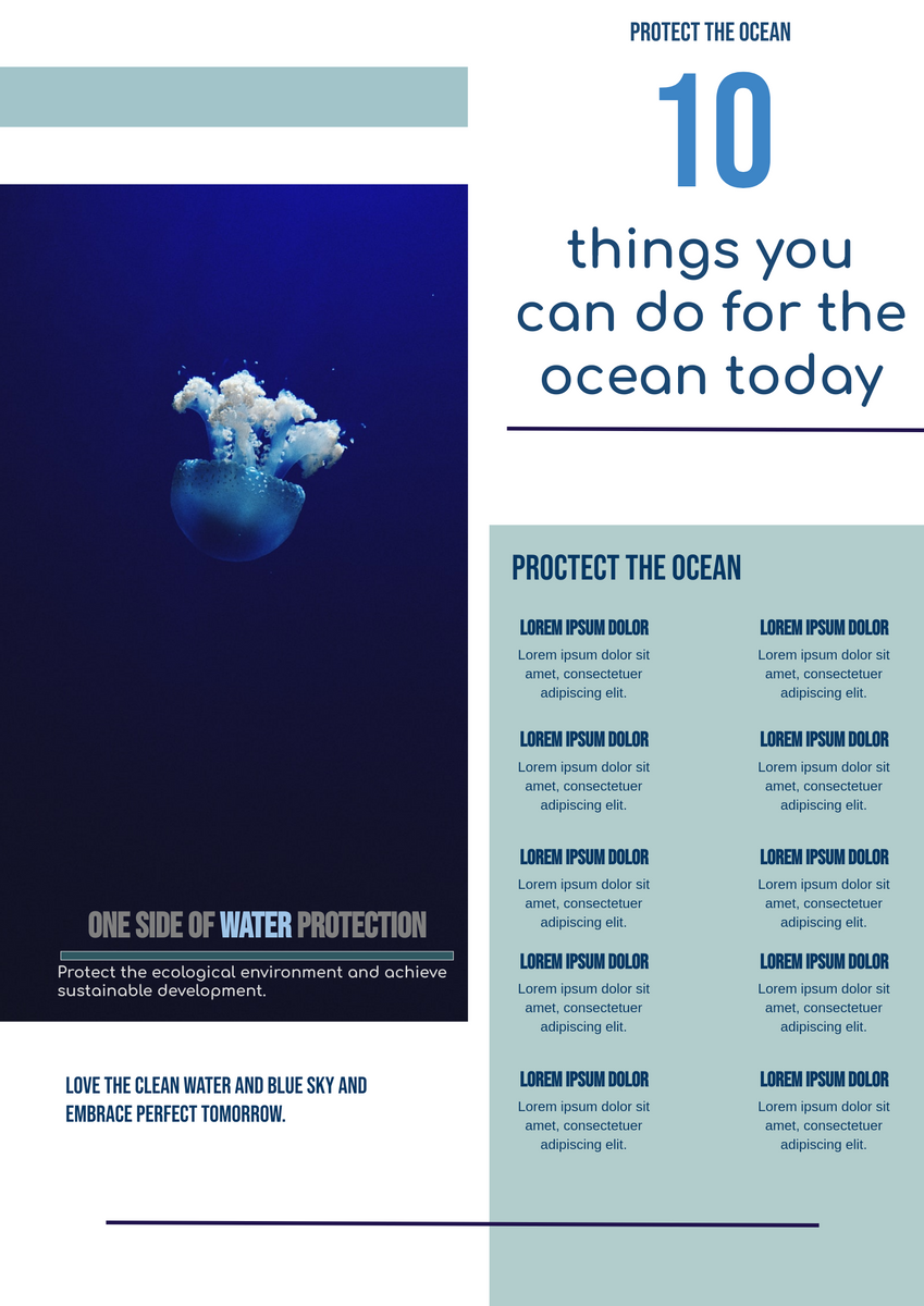 Poster template: Things You Can Do For The Ocean Poster (Created by InfoART's Poster maker)