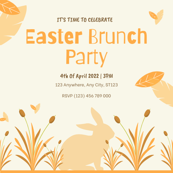 Invitation template: Yellow Orange Plants Illustration Easter Party Invitation (Created by InfoART's Invitation maker)