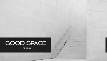 Business Card template: Minimal Black Good Space Interior Business Card (Created by InfoART's Business Card maker)