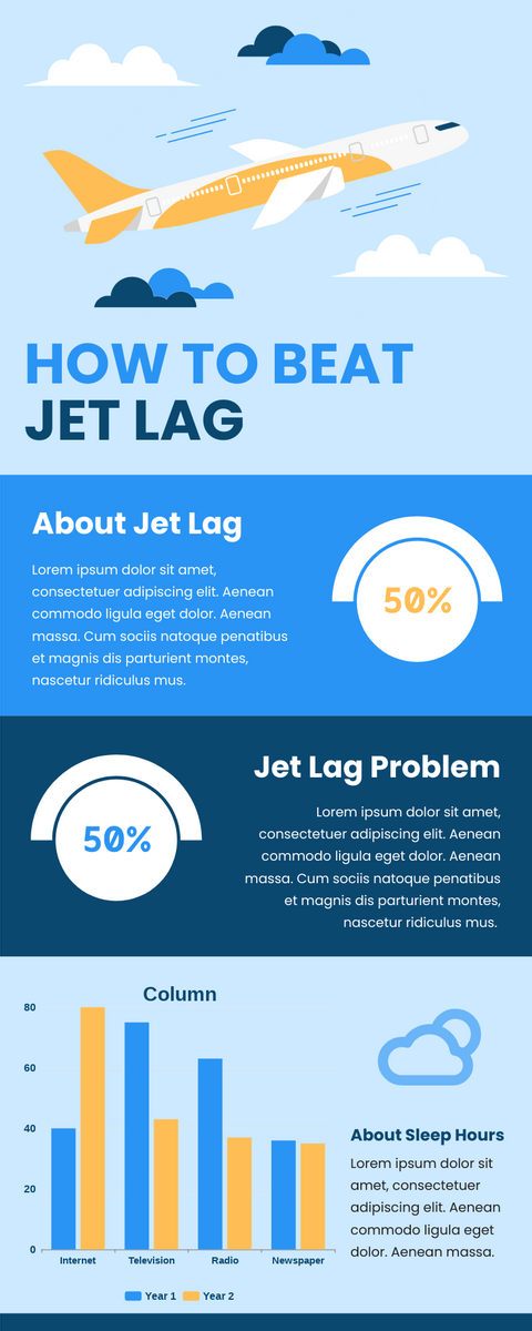 Infographic template: How To Beat Jet Lag Infographic (Created by InfoART's Infographic maker)