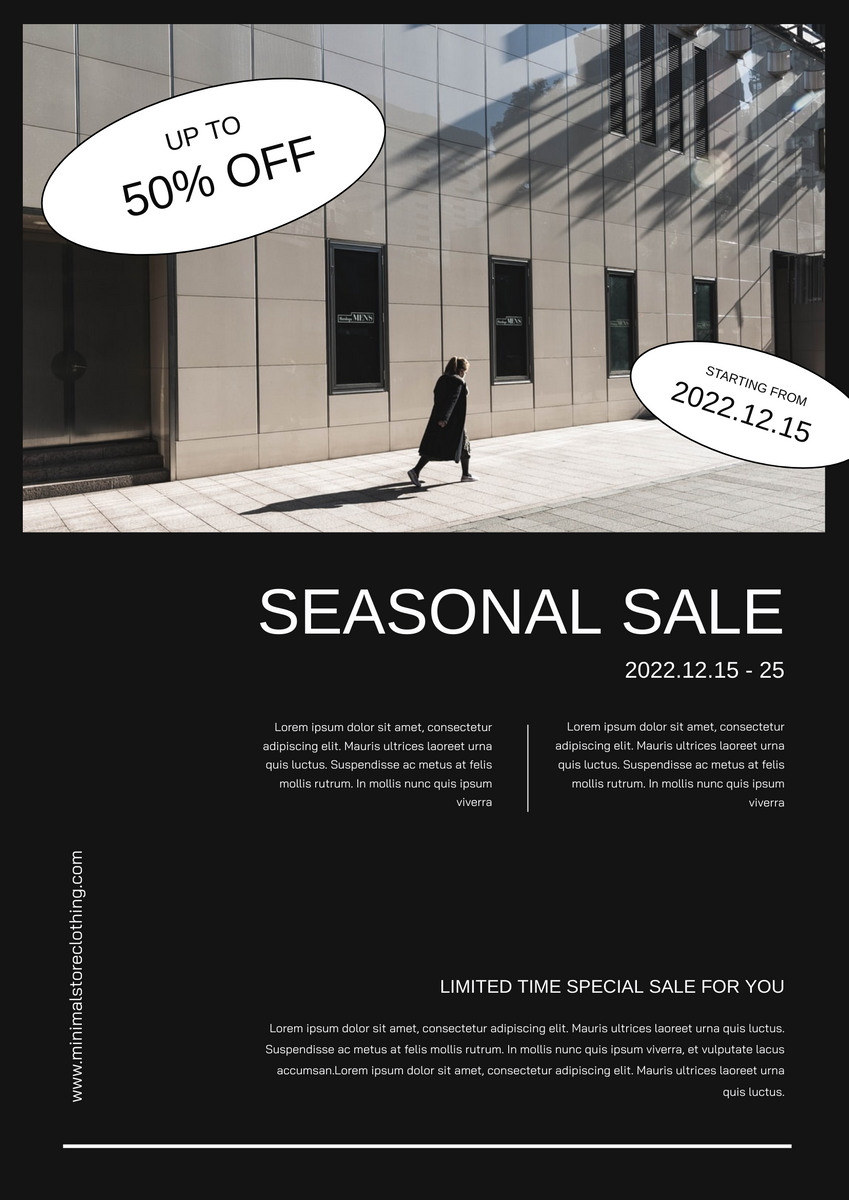 Poster template: Minimal Black Photo Seasonal Sale Poster (Created by InfoART's Poster maker)