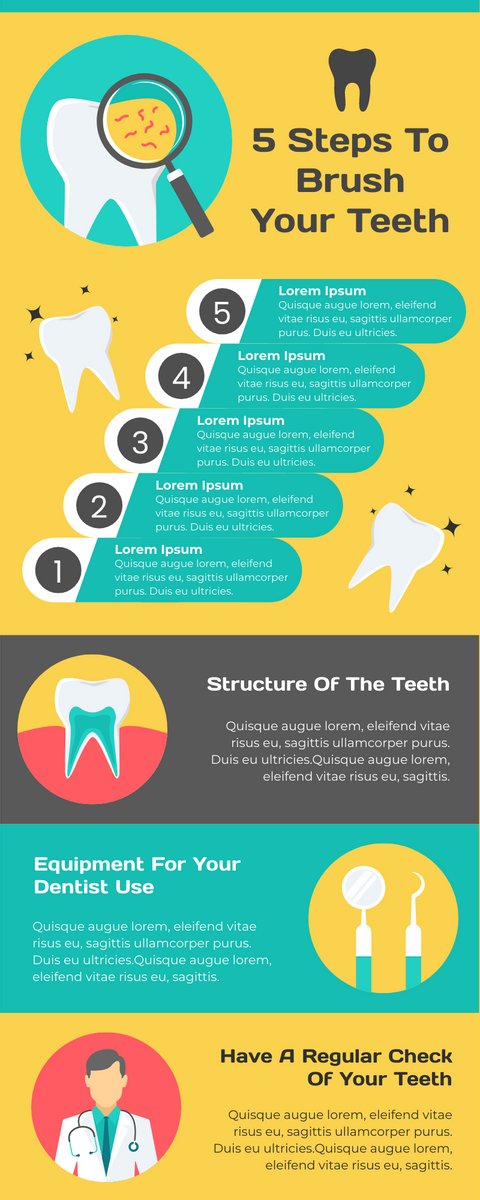 Infographic template: 5 Steps To Brush Your Teeth Infographic (Created by InfoART's Infographic maker)