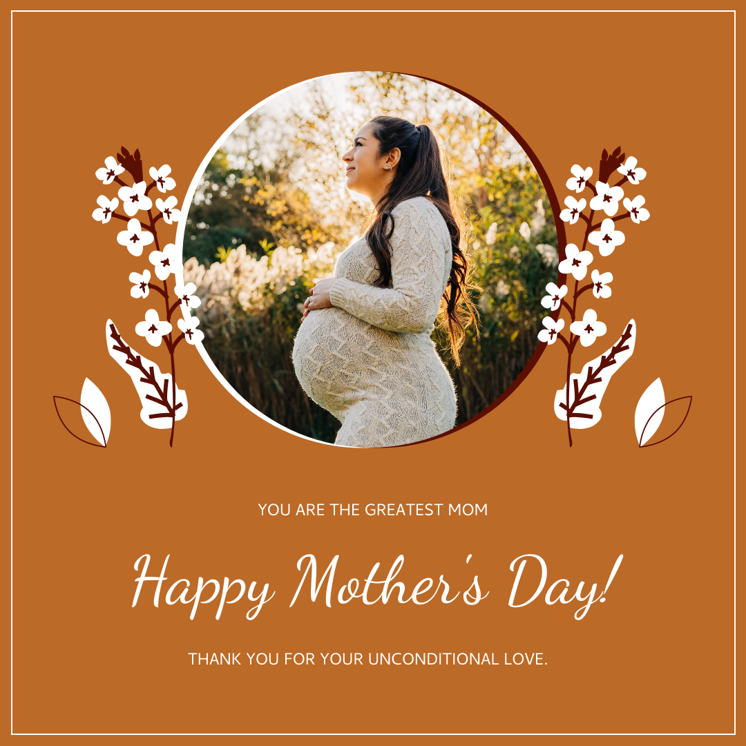 Instagram Post template: Orange Floral Photo Mother's Day Instagram Post (Created by InfoART's Instagram Post maker)