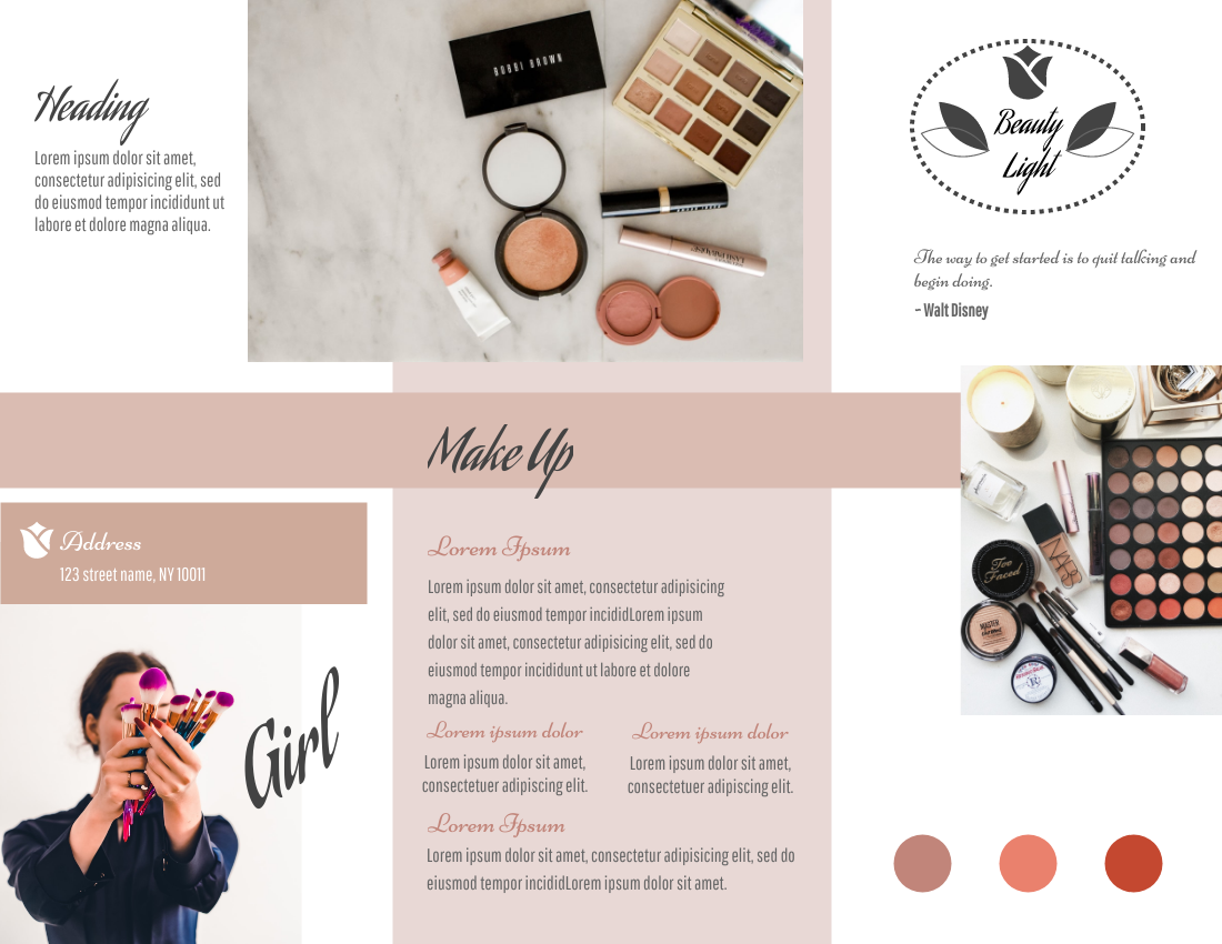 Brochure template: Makeup Tools Brochure (Created by InfoART's Brochure maker)
