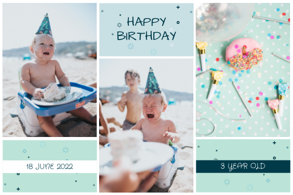 Greeting Card template: Light Blue Baby And Cakes Photo Birthday Greeting Card (Created by InfoART's Greeting Card maker)
