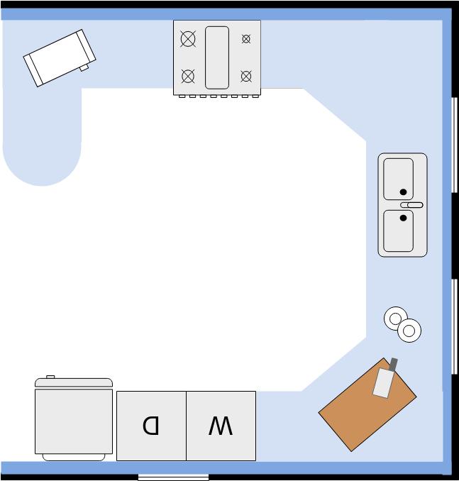 Kitchen Floor Plan template: Small Kitchen Floor Plan (Created by Diagrams's Kitchen Floor Plan maker)