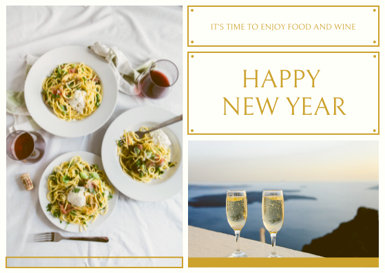 Postcard template: Gold White Photo Frame New Year Postcard (Created by InfoART's Postcard maker)