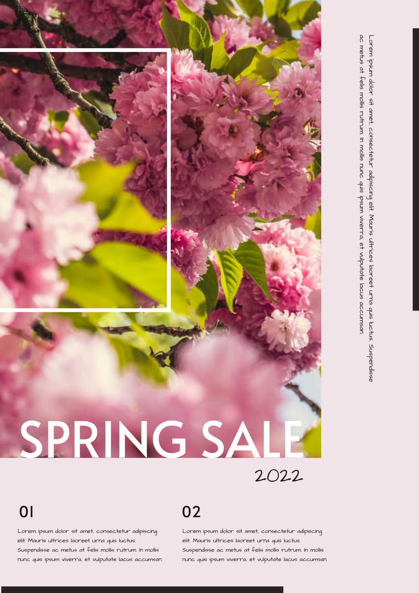 Poster template: Pink Floral Photo Spring Sale Poster (Created by InfoART's Poster maker)