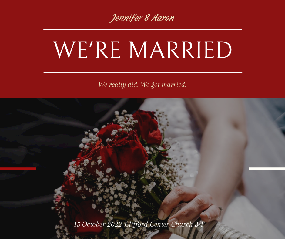 Facebook Post template: We Are Married Wedding Facebook Post (Created by InfoART's Facebook Post maker)