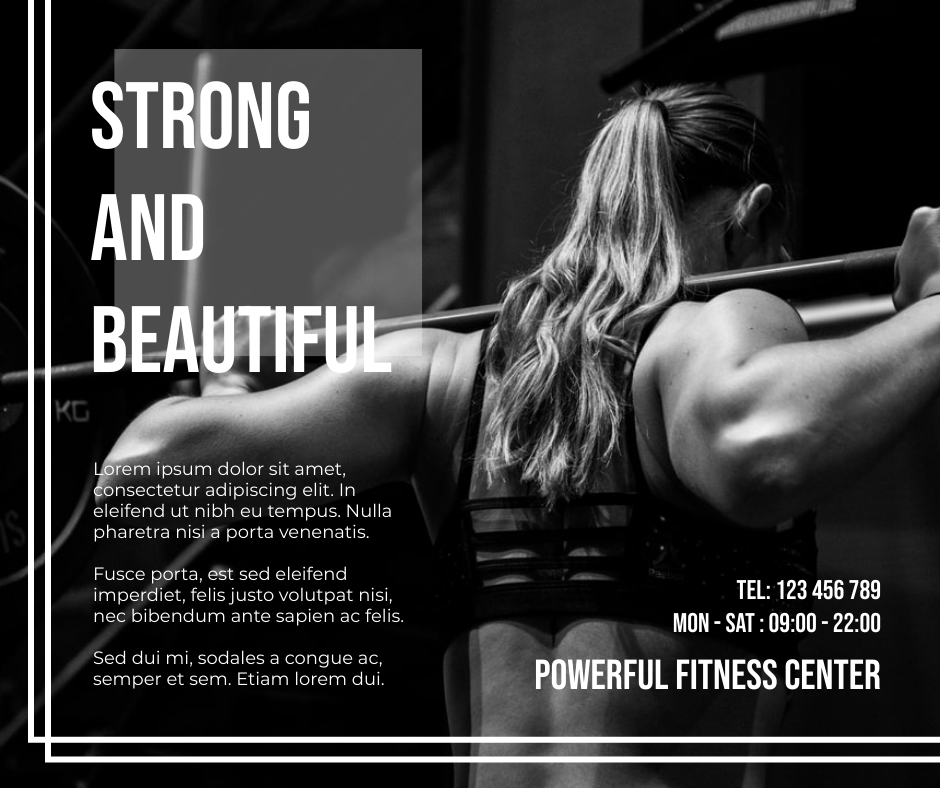 Facebook Post template: Monochrome Fitness Center Facebook Post (Created by InfoART's Facebook Post maker)