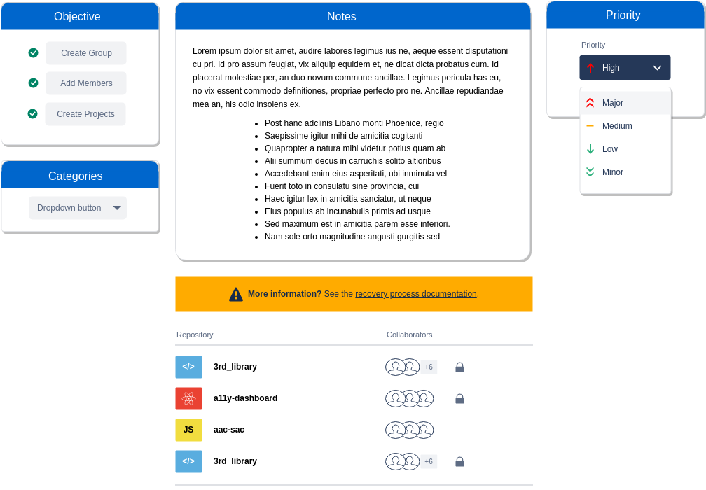 Atlassian Wireframe template: General Information with Sidebars (Created by Diagrams's Atlassian Wireframe maker)