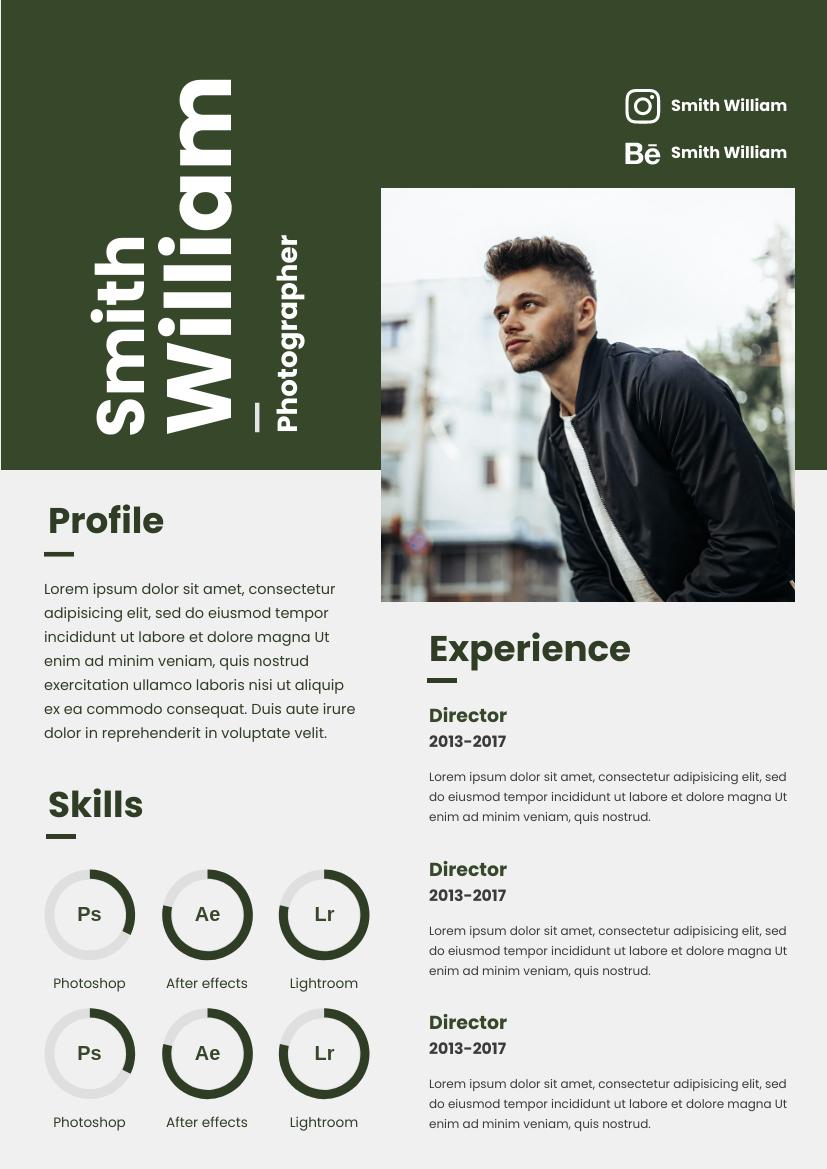Resume template: Green Resume (Created by InfoART's Resume maker)