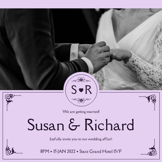 Invitation template: Purple Elegant Border With Photo Wedding Invitation (Created by InfoART's Invitation maker)