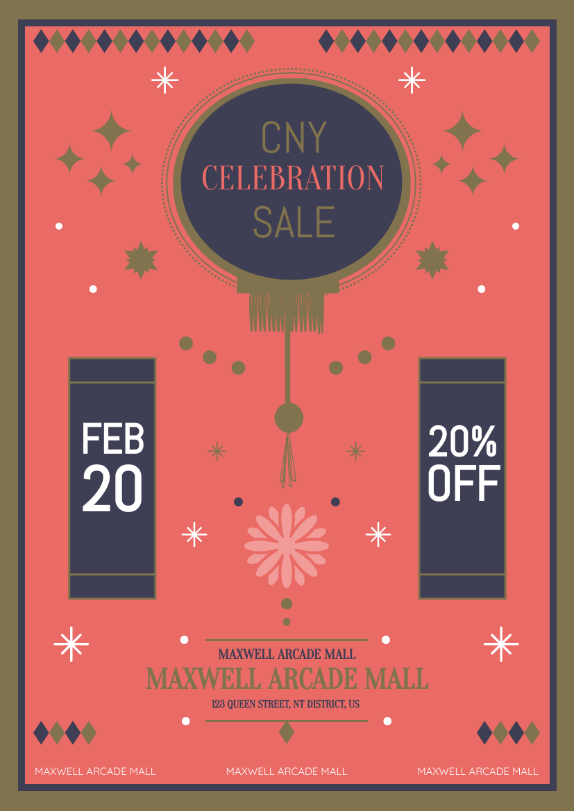 Flyer template: Chinese New Year Mall Sale Flyer (Created by InfoART's Flyer maker)