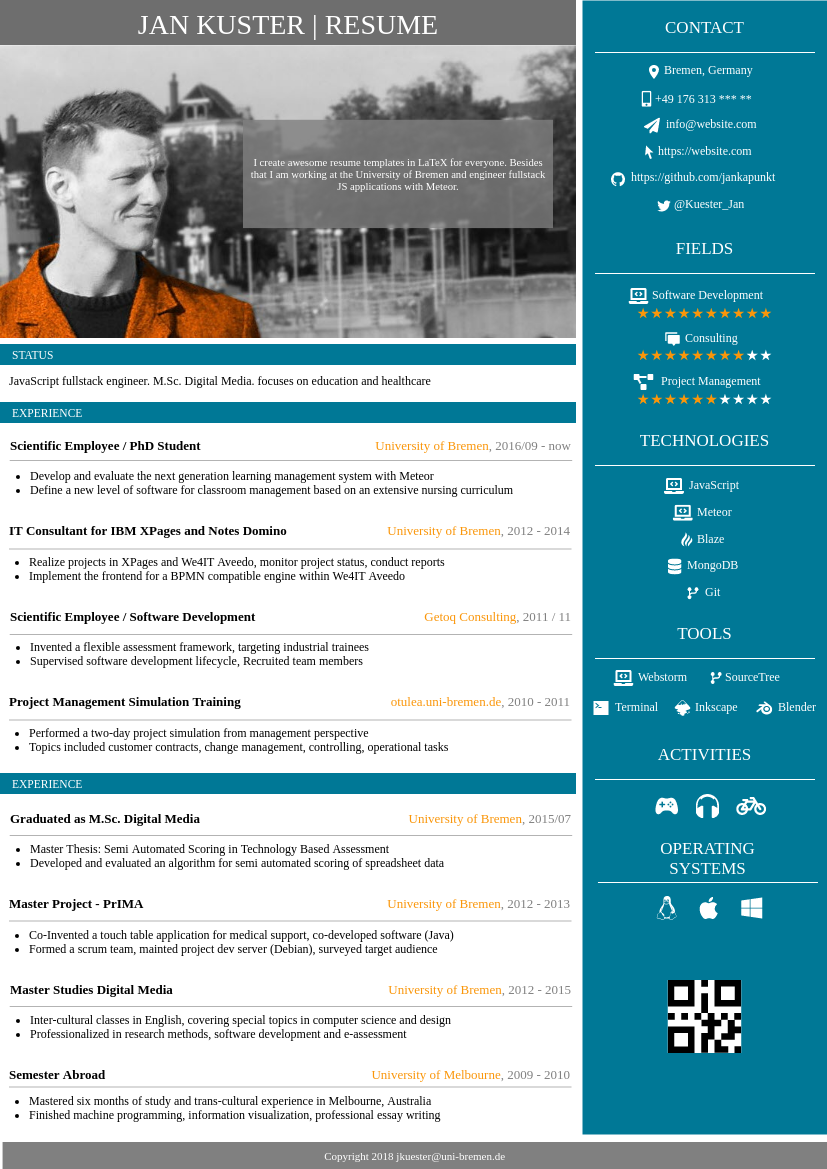 Resume template: Resume with Sidebar (Created by InfoART's Resume maker)