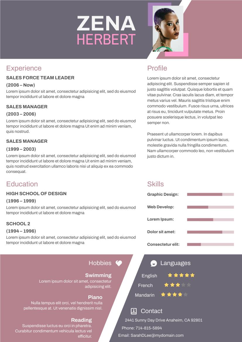 Resume template: Odd Shapes Resume (Created by InfoART's Resume maker)