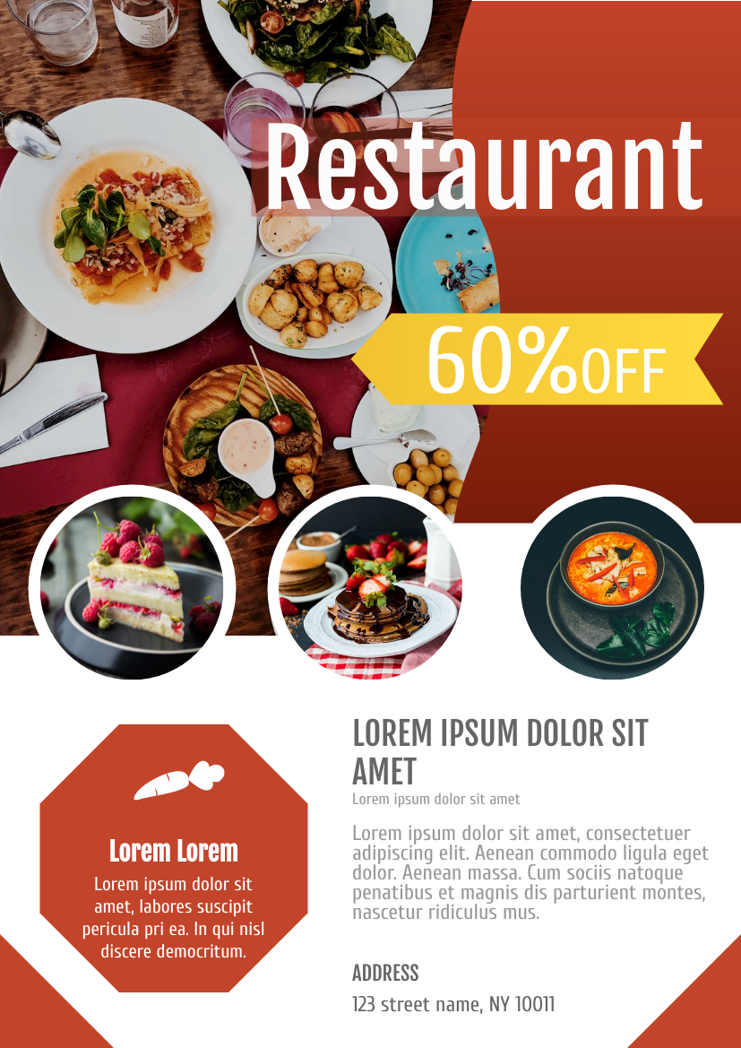 Flyer template: Restaurant Discount Flyer (Created by InfoART's Flyer maker)