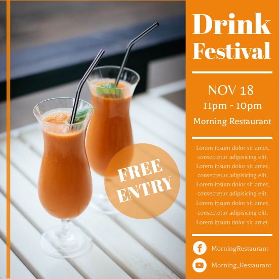 Invitation template: Drink Festival (Created by InfoART's Invitation marker)