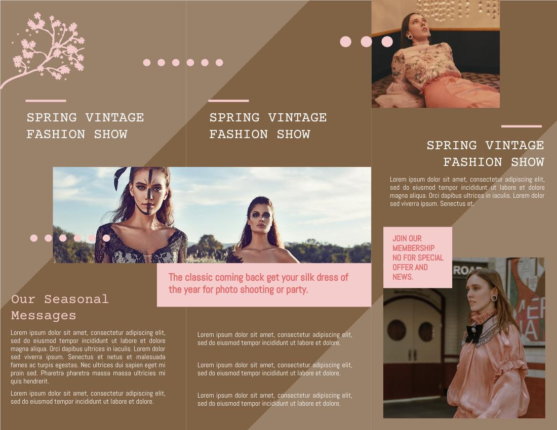 Brochure template: Vintage Spring Fashion Dress Brochure (Created by InfoART's Brochure maker)