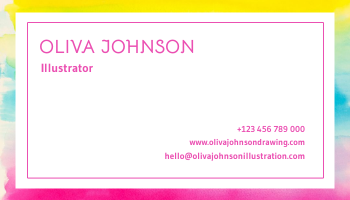 Business Card template: Triple Watercolor Illustrator Business Card (Created by InfoART's Business Card maker)