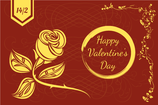 Greeting Card template: Golden Happy Valentine's Day Greeting Card (Created by InfoART's Greeting Card maker)