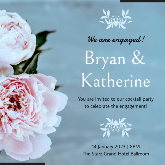 Invitation template: Soft Blue Floral Wedding Engagement Invitation (Created by InfoART's Invitation marker)