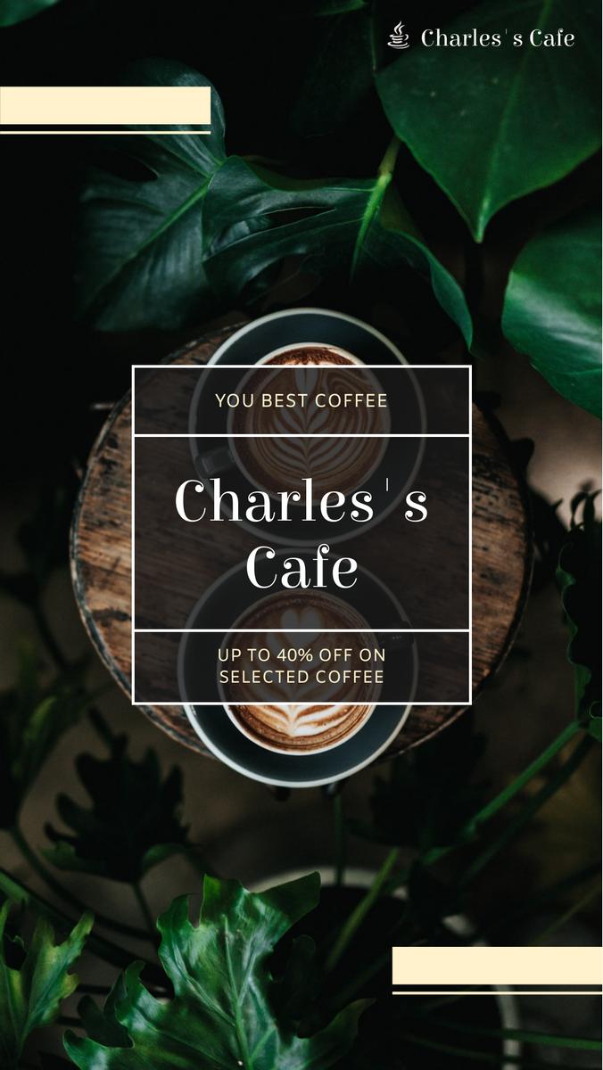 Instagram Story template: Dark Coffee Shop Photo Sale Instagram Story (Created by InfoART's Instagram Story maker)