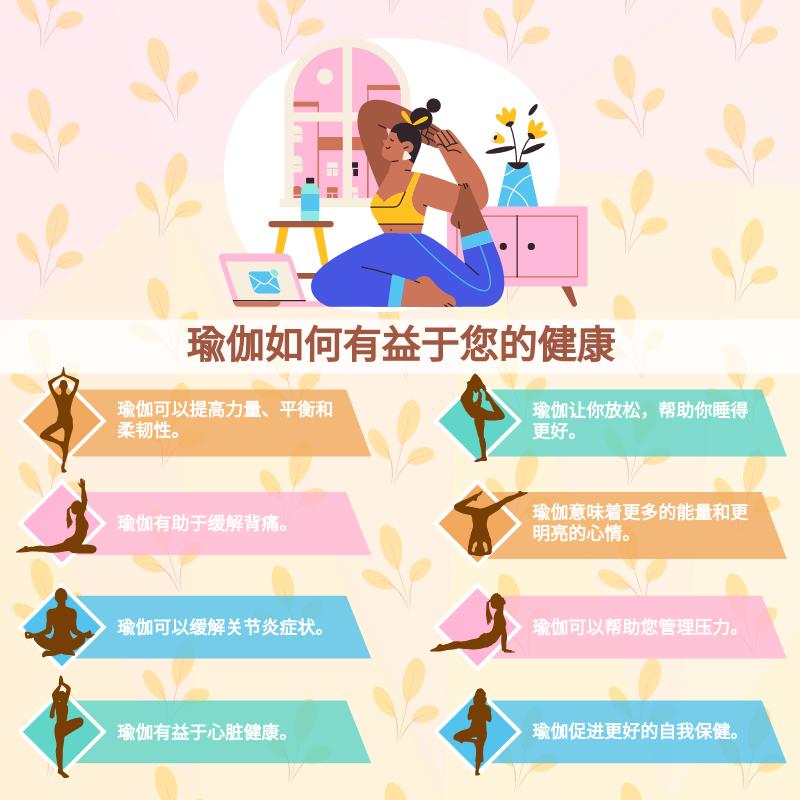 信息图表 template: 瑜伽如何有益于您的健康信息图 (Created by InfoART's 信息图表 maker)