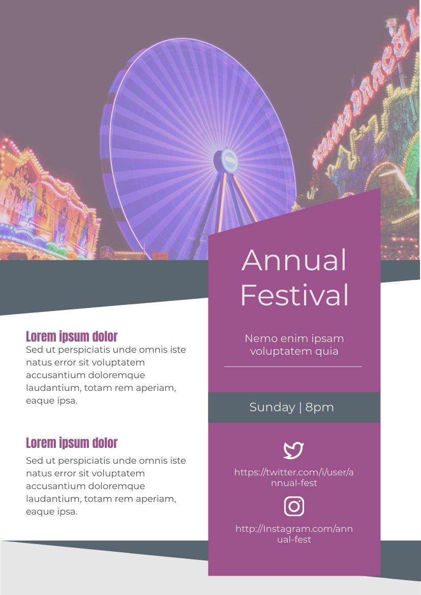 Flyer template: Annual Festival (Created by InfoART's Flyer maker)