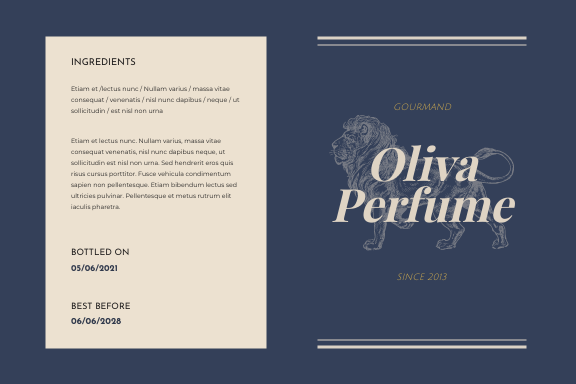 Label template: Animals Illustration Perfume Product Label (Created by InfoART's Label maker)