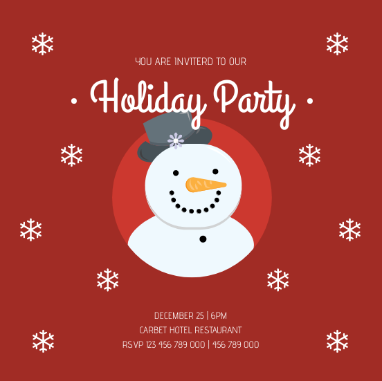 Invitation template: Red Snowman Christmas Holiday Party Invitation (Created by InfoART's Invitation maker)