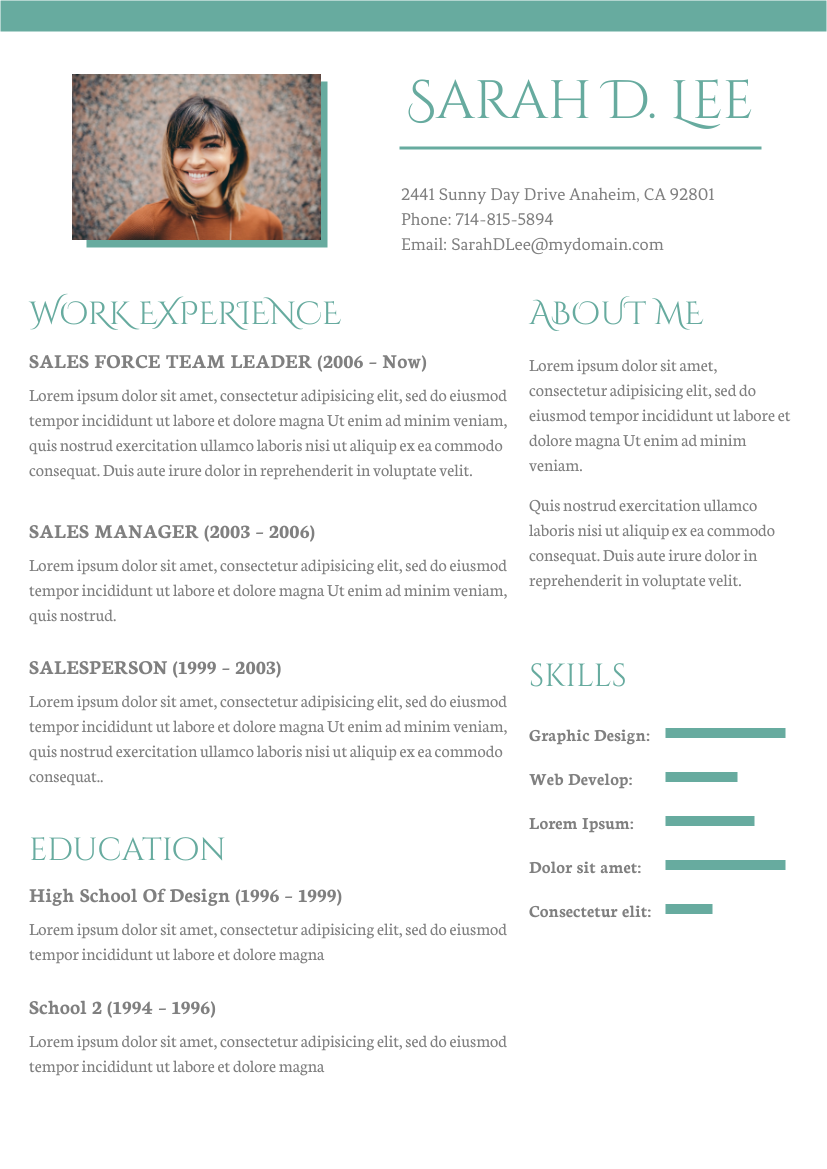 Resume template: Traditional Resume (Created by InfoART's Resume maker)