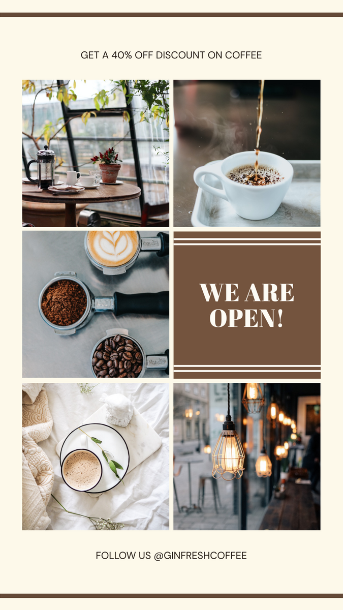Instagram Story template: Cafe Photo Collage Coffee Shop Promotion Instagram Story (Created by InfoART's Instagram Story maker)