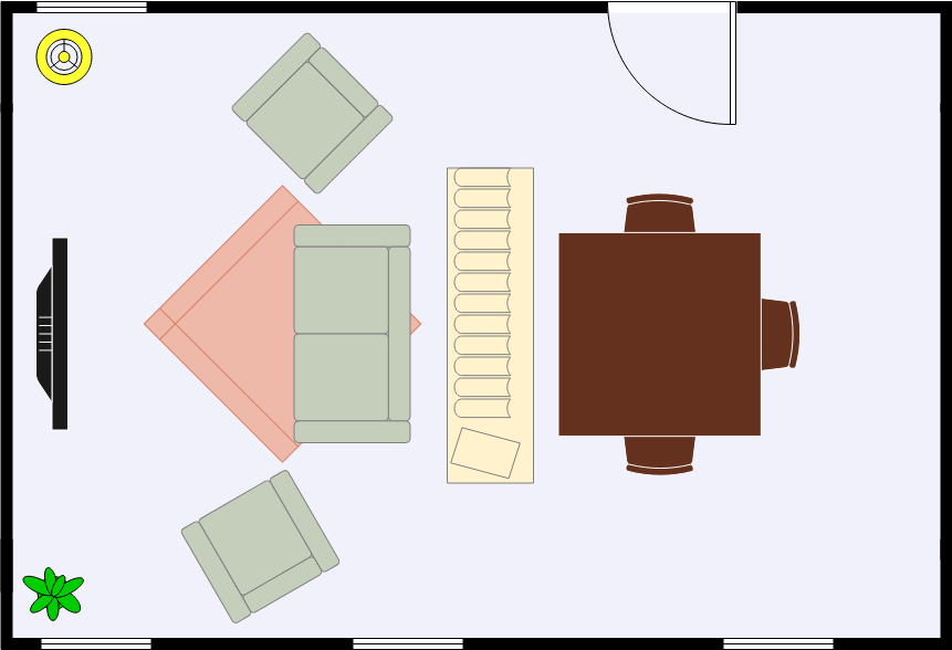 Dining Room Floor Plan template: Open Dining Area (Created by Diagrams's Dining Room Floor Plan maker)