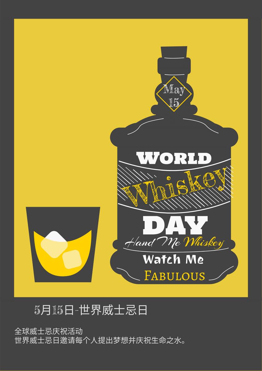 海报 template: 世界威士忌日插图黄黑海报 (Created by InfoART's 海报 maker)