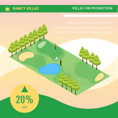 Isometric Diagram template: Villa Rental Advert (Created by InfoART's Isometric Diagram marker)