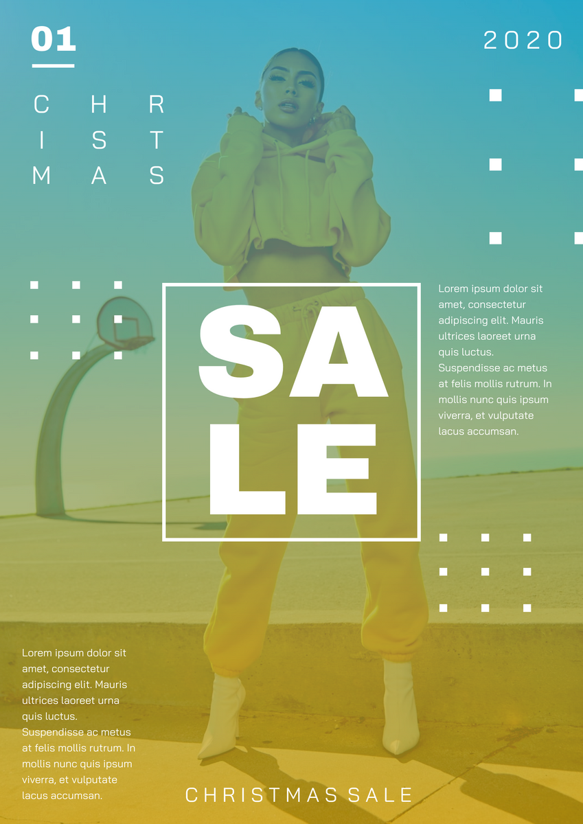 Poster template: Blue And Yellow Gradient Christmas Sale Poster (Created by InfoART's Poster maker)