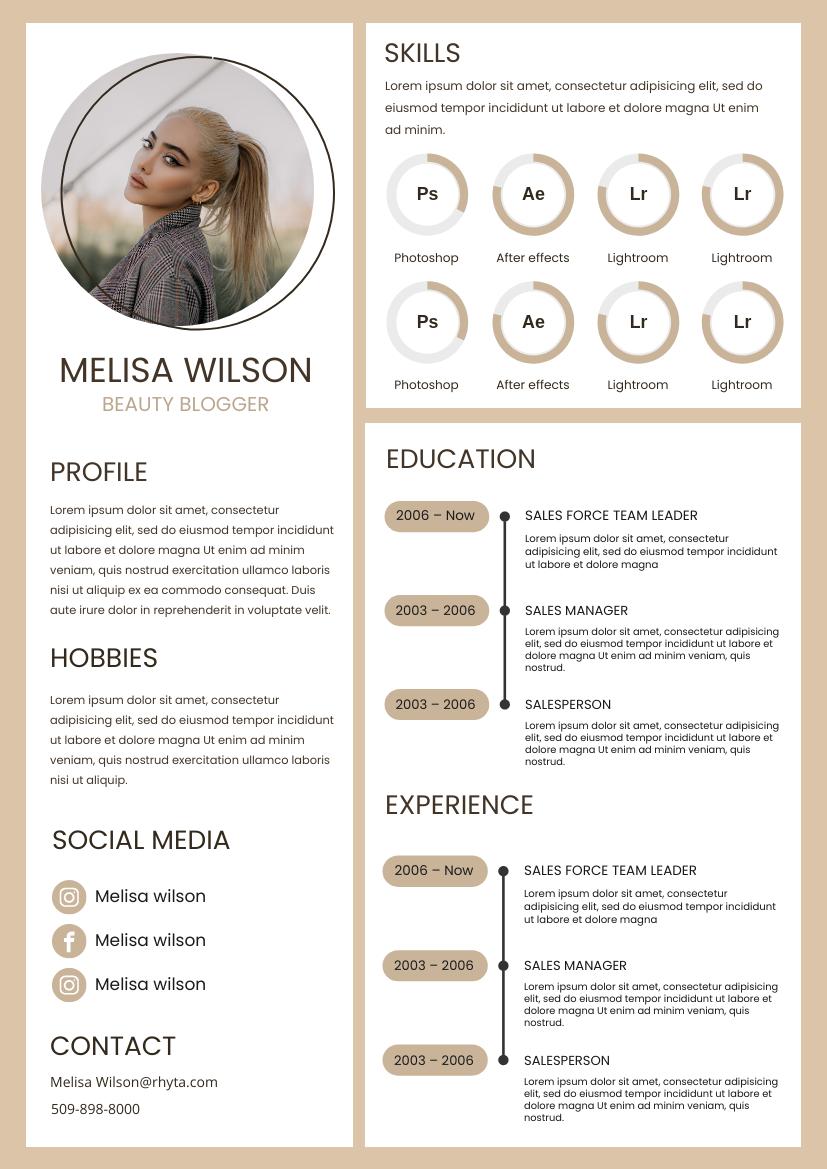 Resume template: Dusty Brown Resume (Created by InfoART's Resume marker)
