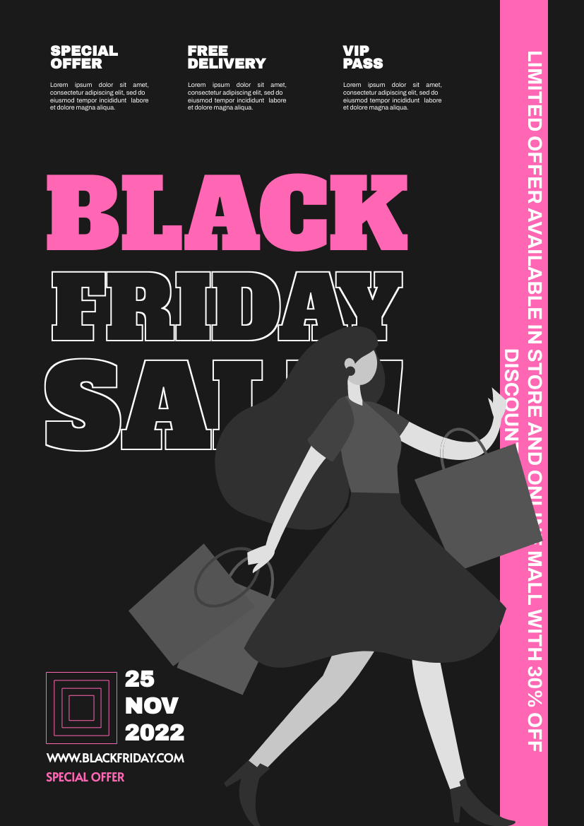 Flyer template: Pink Black Friday Sale Flyer (Created by InfoART's Flyer maker)