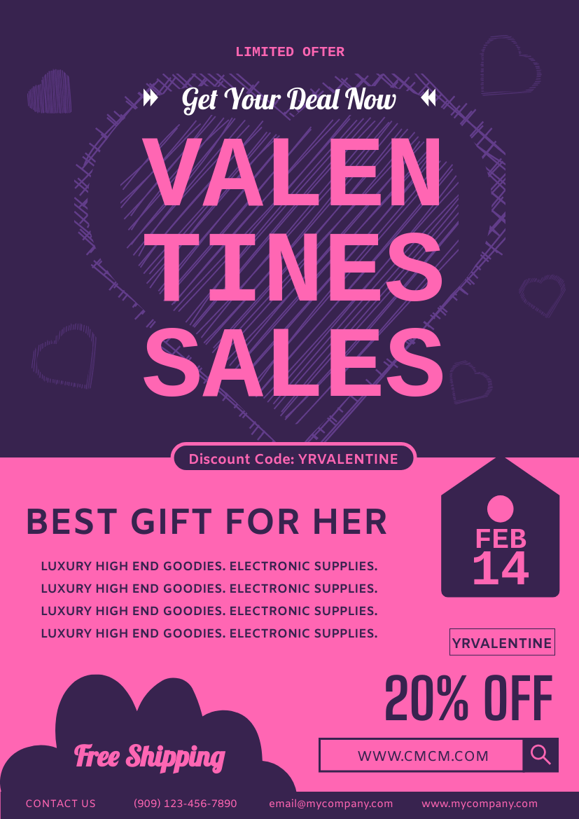 Flyer template: Valentine Discount Deal Flyer (Created by InfoART's Flyer maker)