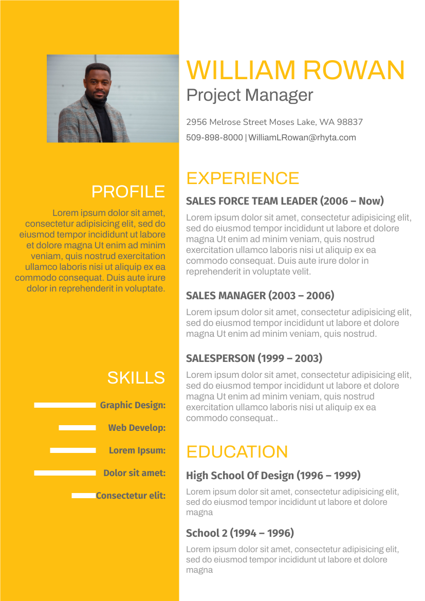 Resume template: Dark Yellow Theme Resume (Created by InfoART's Resume maker)