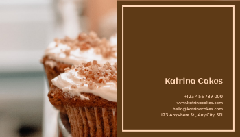 Business Card template: Brown Cakes Photo Bakery Business Card (Created by InfoART's Business Card maker)