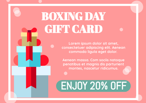Gift Card template: Boxing Day Gift Card (Created by InfoART's Gift Card marker)