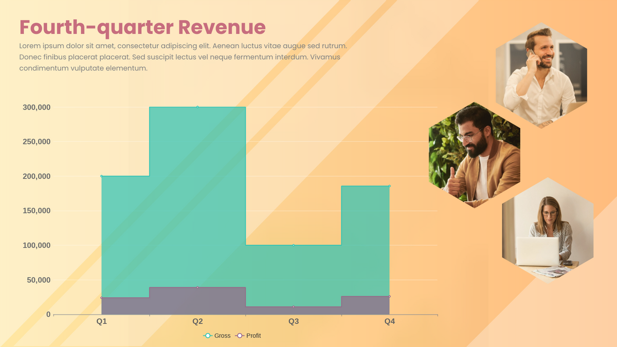 Stepped Area Chart template: Fourth-quarter Revenue Stepped Area Chart (Created by Chart's Stepped Area Chart maker)