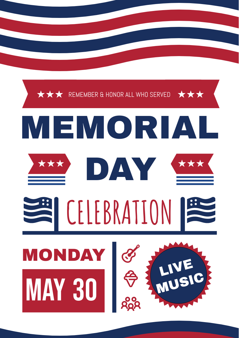 Flyer template: Memorial Day Celebration Wave Flyer (Created by InfoART's Flyer maker)