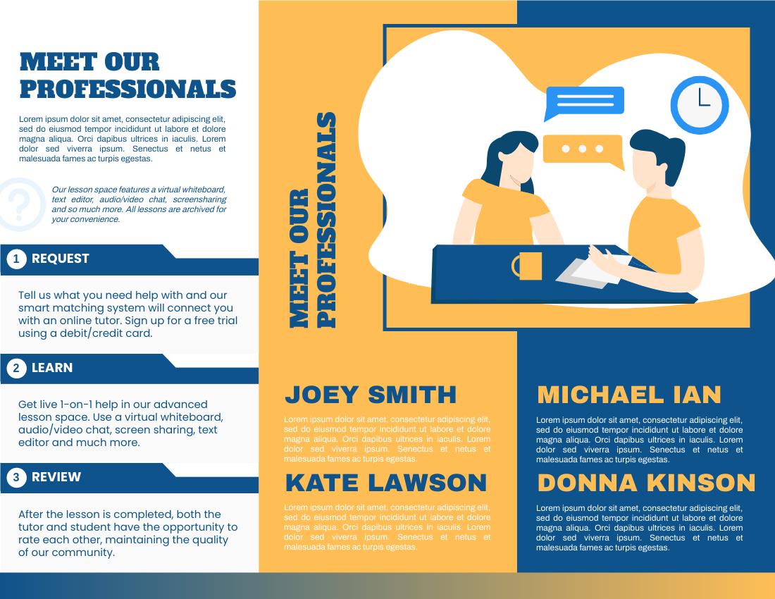 Brochure template: Online Tutoring Service Brochure (Created by InfoART's Brochure maker)