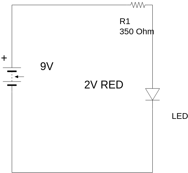 Light-Emitting Diode (LED) (Basic Electrical Diagram Example)