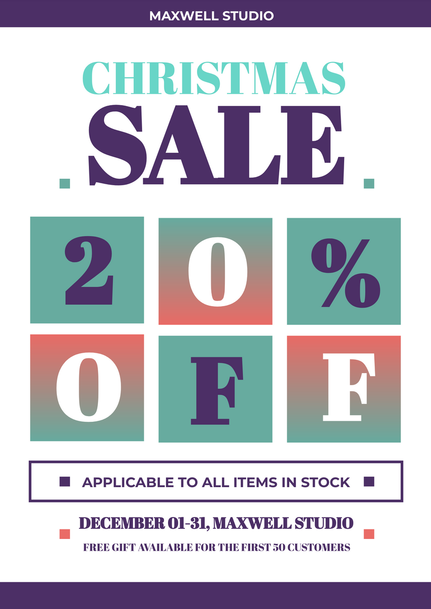 Poster template: Gradient Christmas Sale Poster (Created by InfoART's Poster maker)