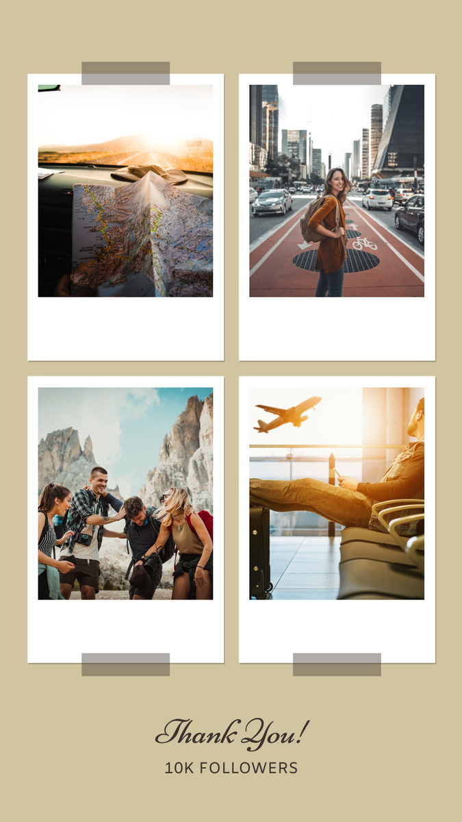 Instagram Story template: Travel Photo Polaroid Collage Thank You Followers Instagram Story (Created by InfoART's Instagram Story maker)