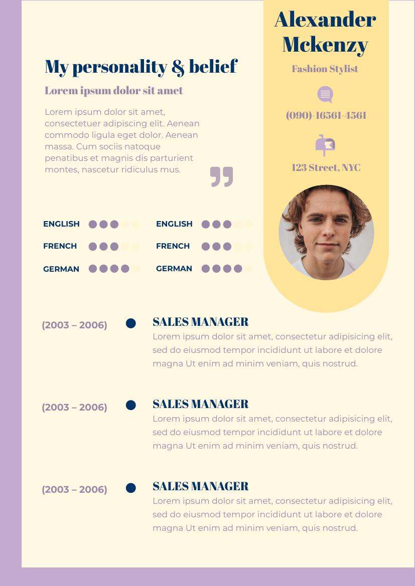 Resume template: Purple Cream Resume (Created by InfoART's Resume maker)